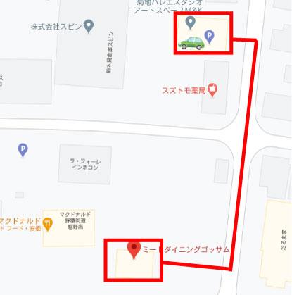 京王堀之内のゴッサムの駐車場